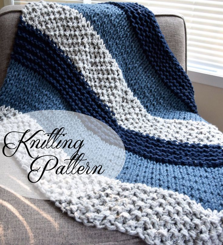 """Knitting Pattern for Easy Beginner Chunky Blanket - This throw knit in sections of garter stitch, stockinette, and seed stitch is perfect for beginners and advanced knitters according to the designer. Includes """"how to"""" videos for basic techniques used. It does use jumbo US50 size needles."""