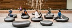 Airbnb HQ:  The SoMA Stones were created from real stones the size of dollar coins. Using 3D technology these stones were transformed into bold outdoor seating. We collaborated with Meyer +Silberberg Land Architects for this project at the 888 Brannan building in San Francisco, California
