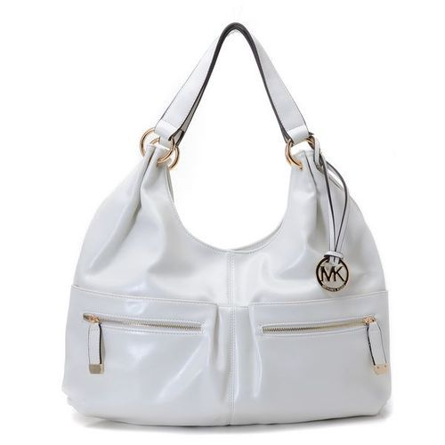 MICHAEL Michael Kors Large Layton Shoulder Tote Dove White Leather
