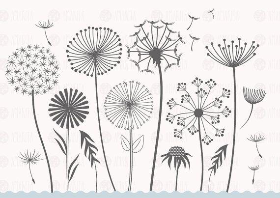 Dandelion vector, dandelion clipart, flower clipart, floral clipart, floral vector, flower vector, digital drawing, instant download, nature