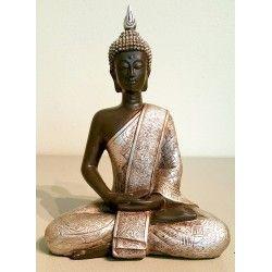 Thaise boeddha zittend, zilver 20 cm