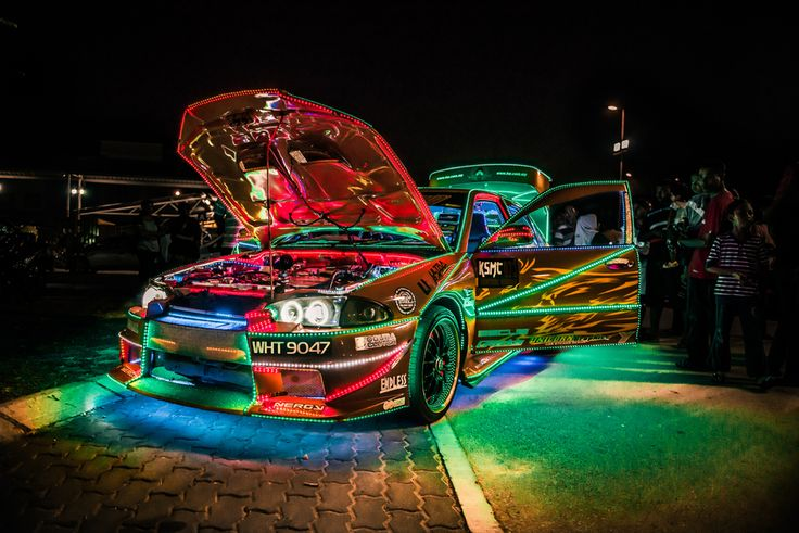 Malaysian street racing car by the side of the road at midnight. Photo taken by Jasveer Singh
