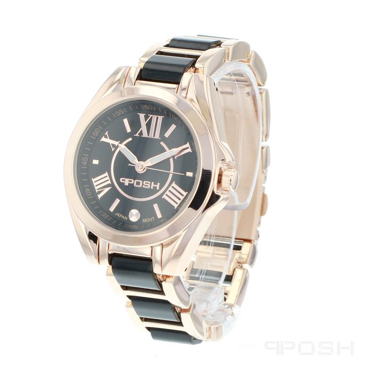 Noir - Watch - Rose Tone and Black .  - Trendy roman numeral face design - Made with high quality black acrylic and plated in rose gold tone - Face features exclusive POSH design - Bracelet and full casing made in stainless steel - Water resistant up to 5 ATM - Extra links available - Japanese movement  Dimensions Face: 30mm diameter   POSH by FERI - Passion for Fashion - Luxury fashion jewelry for the designer in you.   #Jewellery   #watches