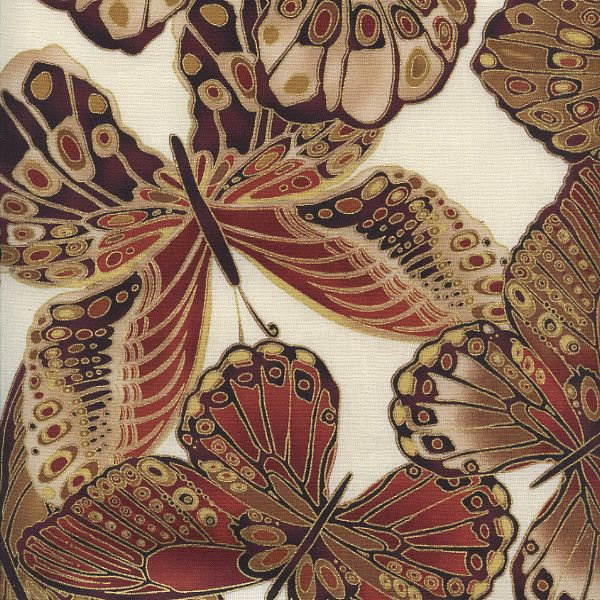 W790 Bronze Shimmer by Timeless Treasures - Shimmer Butterflies - Cream