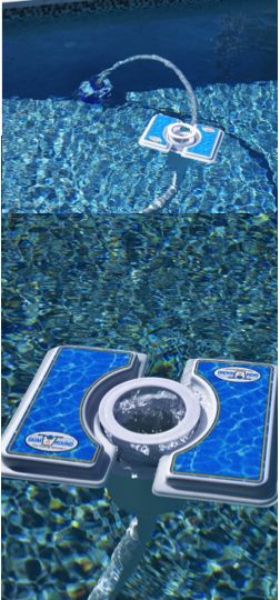 A MOVING pool skimmer. Attach the Skim-A-Round, moving pool skimmer to your existing pool vacuum and watch it move around the pool, cleaning the entire pool surface.
