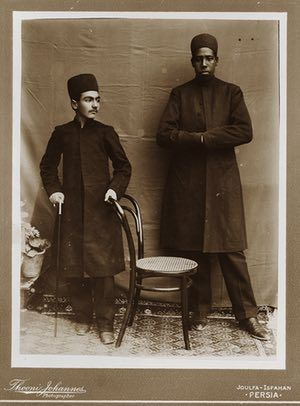 Gholam Hoseyn Mirza Masoud, one of Zell-e-Soltan's sons, with his personal African slave, Julfa, Isfahan, 1880s