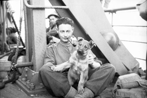A British soldier with his dog on a ship bound for England after being evacuated from France/June 1940