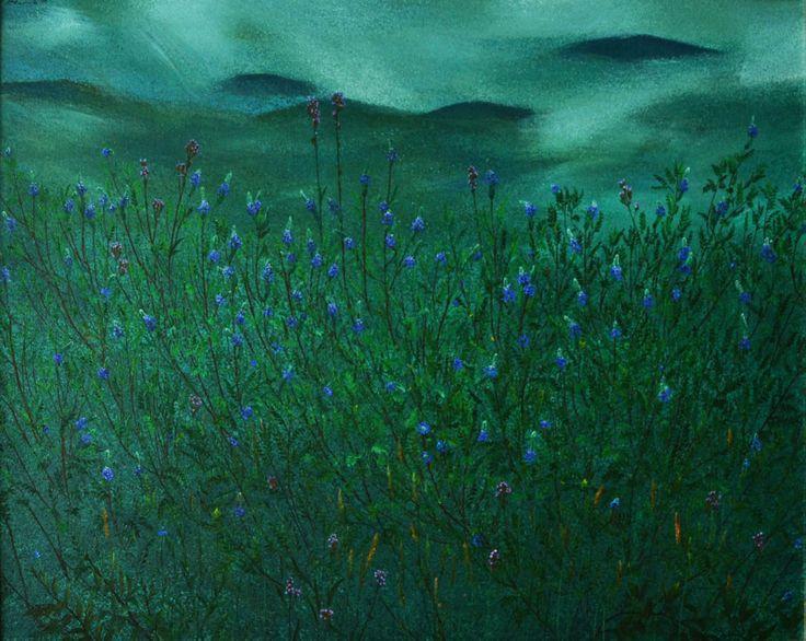 """Ricardo Davila (1952 -     ) – O inicio do seu trabalho foi marcado pelo interesse nos indígenas equatorianos. Influenciado posteriormente pelo poder inventivo e pela energia da obra de Pablo Picasso, a sua arte transformou-se numa celebração da natureza e da figura humana.   """"Páramo del Antisana"""", de 1999 – Destaca-se o detalhe na utilização das cores, nomeadamente os verdes profusamente utilizados nesta pintura impressionista."""