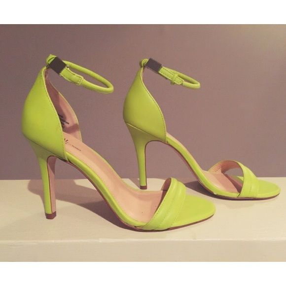 "Prabal Gurung Target Neon Green Strappy High Heels Prabal Gurung for Target Neon/Lime Green Ankle Strap High Heels. Adjustable Strap with Silver Clasp Closure. 4"" Stiletto Heel. Size 8, run slightly big, so I would suggest sizing down. Limited edition. Prabal Gurung for Target Shoes Heels"