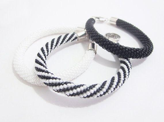 Black white beaded bracelet white crochet bracelet black bead bangle bracelet striped stylish bracelet classy beaded bracelet bead band