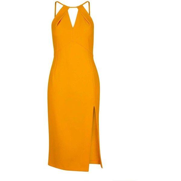 Marigold Split Midi Dress ❤ liked on Polyvore featuring dresses, orange party dress, orange halter dress, cutout dresses, night out dresses and midi dress