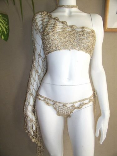 hand Crocheted metallic Gold satin thread One Shouldered Club top and optional Brazilian bottom
