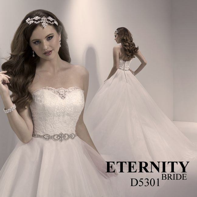 Aline organza wedding dress with lace bodice and beaded waist detail. D5301 is available in Ivory or White. Call us or visit our facebook page to find your nearest retailer. #weddingdress #weddingdresses #brides #bridalgown #bridalgowns #eternitybride #eternitybridal #lacedress #fairytaledress #dreamweddingdress