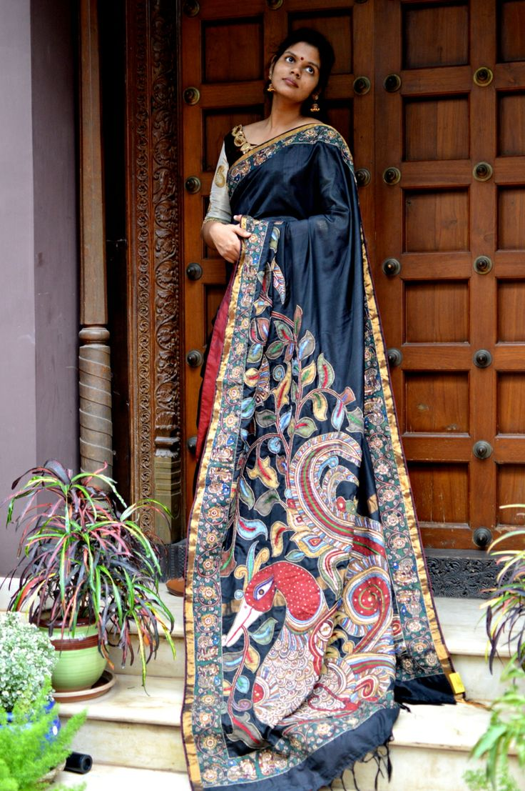 Black Uppada with KalamKari Embroidery