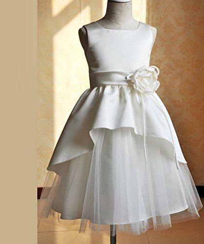 Sanlise Mädchen Kommunionkleid (100cm, weiß): Amazon.de: Bekleidung