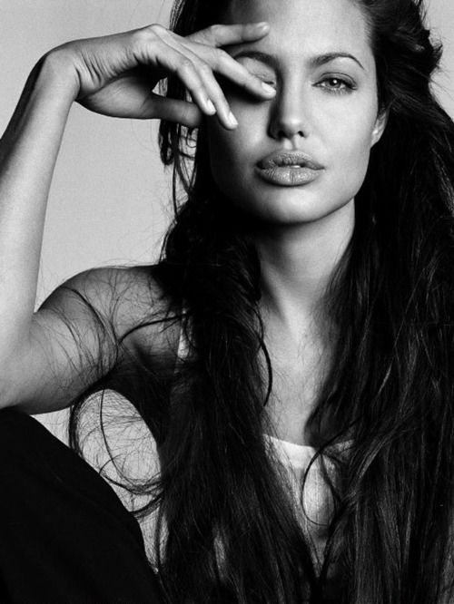 angelina jolie, black and white, fashion, glamour, hair, photography