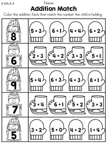 Addition Match >> Match the sum by coloring the skates and mittens with the correct equations >> Part of the Winter Kindergarten Math Worksheets packet
