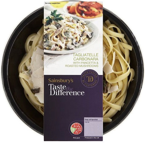 Sainsbury's Taste the Difference Tagliatelle Carbonara with Pancetta & Roasted Mushrooms (400g)