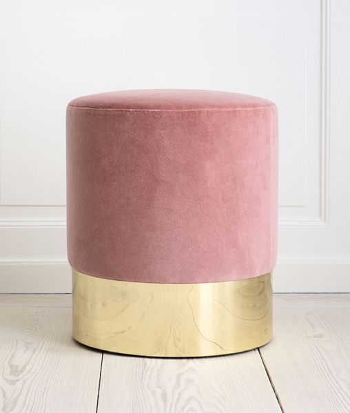 gorgeously simple stool: Pencil Era, Simple Stools, Gorgeous Simple, Decor Ideas, Design Ideas, Recycled Furniture, Brass, Pink And Gold, Pink Velvet