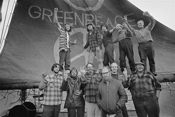 The Founding of Greenpeace. Art from his Social Activist Days.