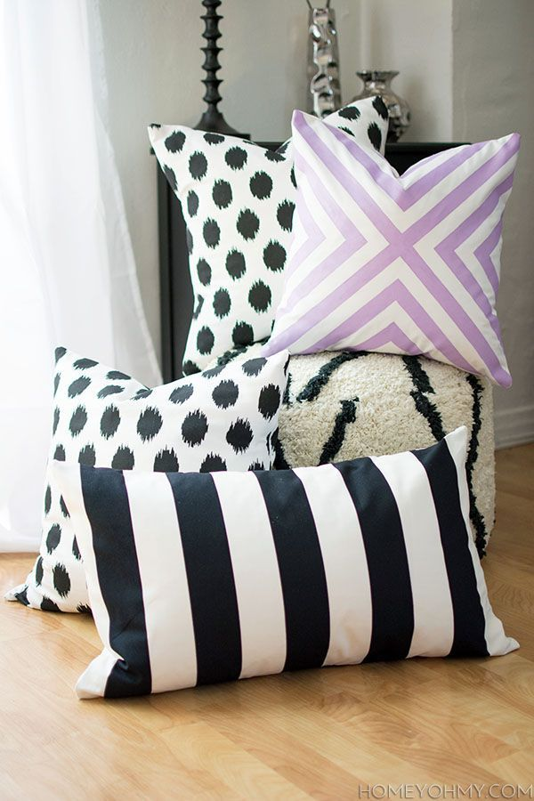DIY No Sew Pillow Covers - Homey Oh My! Also great idea for home and btw love her website, magnet board!!