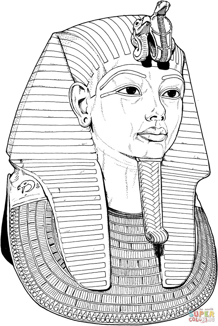 Egyptian coloring pages tutankhamun death mask coloring for Egyptian masks templates
