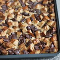 One of the easiest ways to save leftover, stale bread from hitting the garbage can is by making bread pudding. Chocolate bread pudding … well, you don't need an excuse to make or eat this.