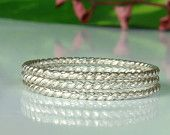 three twisted ring 1mm,sterling silver 925,     Stacking Rings