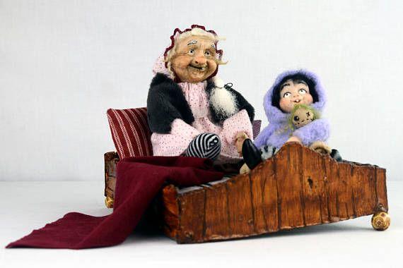 OOAK Kunst Puppe Set ADELHEID & ELSIE handgemachte Halloween