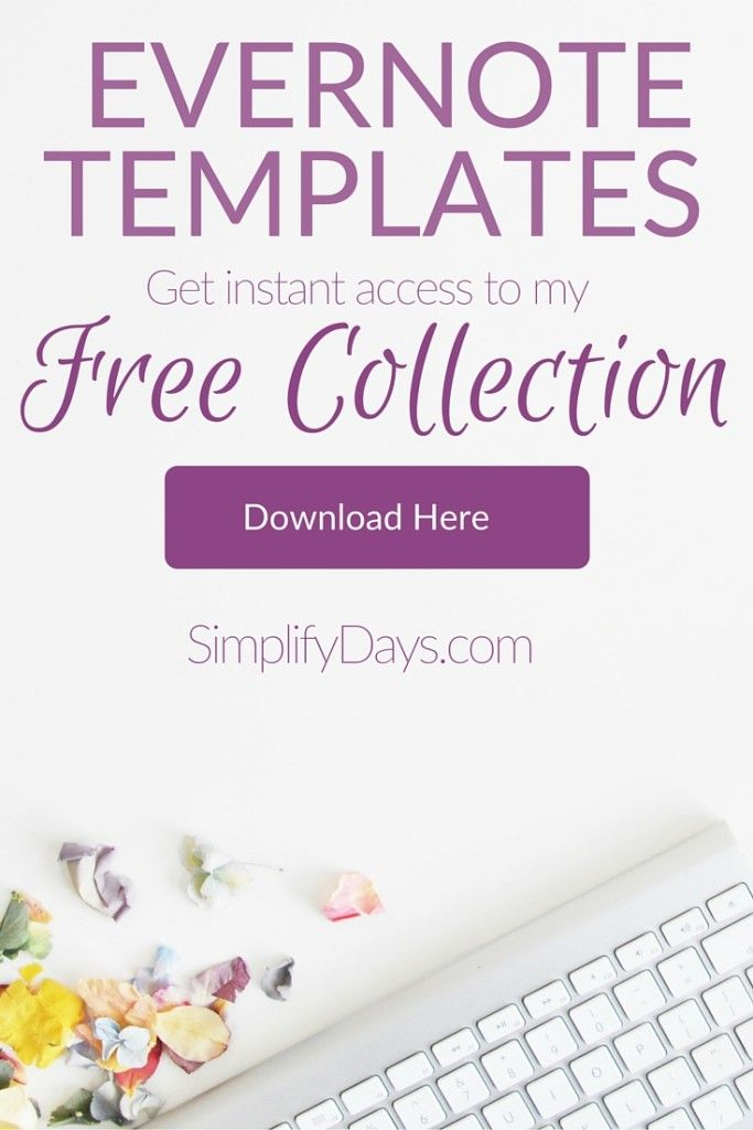 This will give you instant access to my full collection of FREE digital templates designed specifically for Evernote. Evernote is a free organization application. The collection includes a free Evernote guide and a template instructional video. // SimplifyDays.com