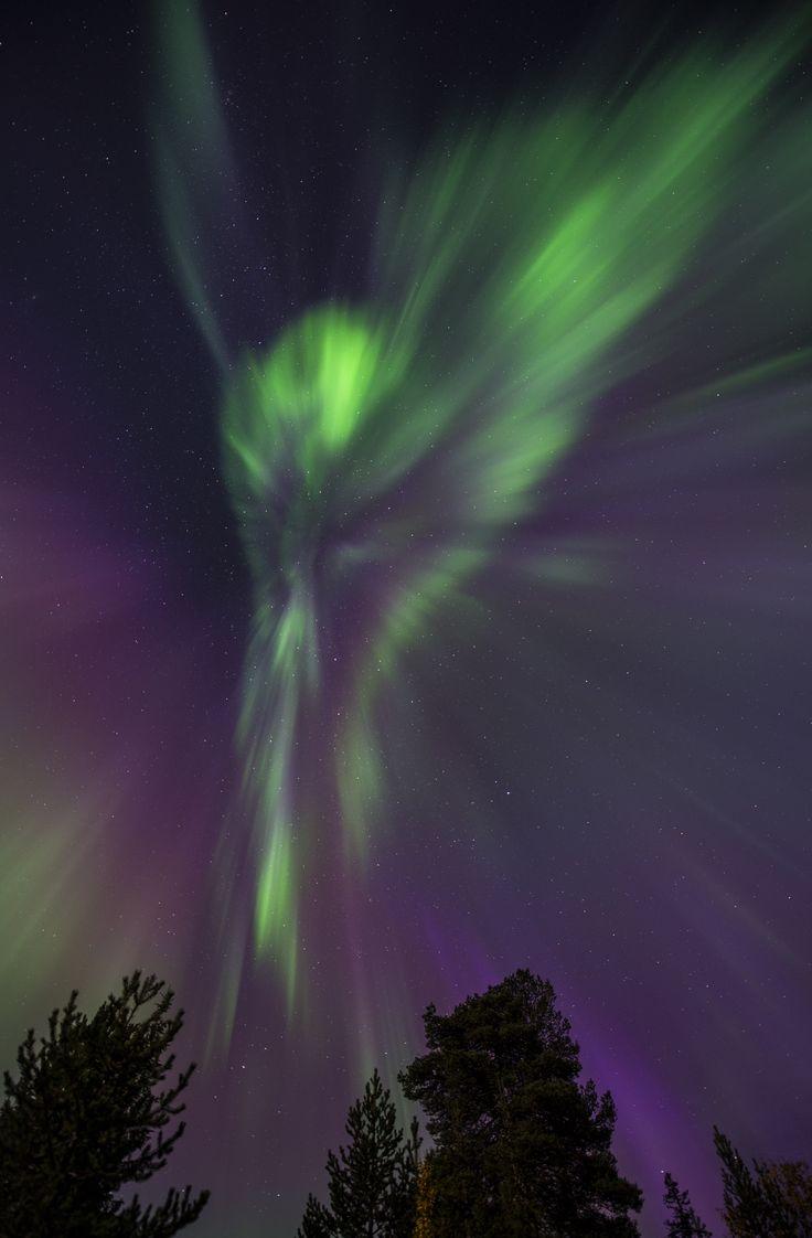 Aurora cascade taken September 13, 2014 near Pallastunturi, Finland.