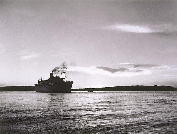 David Moore  (Australia 06 Apr 1927–23 Jan 2003)    Title  'Himalaya' enters Sydney Harbour at dawn 2  Year  1950  printed 1984