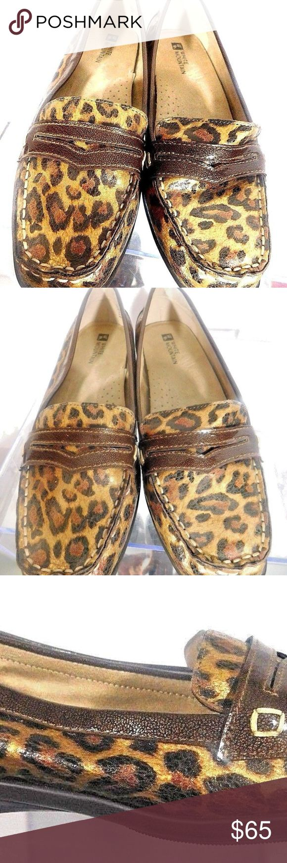 """WHITE MOUNTAIN GOLD BLACK ANIMAL PRINT LOAFER 8 WHITE MOUNTAIN """"WHAM"""" WOMEN'S GOLD BLACK ANIMAL PRINT PATENT LEATHER  DRIVING WALKING DANCING PENNY LOAFERS   SIZE 8M    Retail: $125.00   ONE OF THE MOST COMFORTABLE SHOES YOU WILL OWN GOLD, BROWN, BLACK LEOPARD ANIMAL PRINT BUTTER SOFT GEL INNERSOLE PATENT LEATHER UPPER DURABLE SYNTHETIC RUBBER SOLE WHITE MOUNTAIN Shoes Flats & Loafers"""