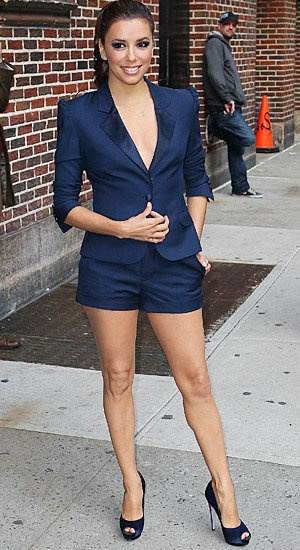 Eva Longoria wears this navy short suit like it's her job! Chic and flawless.