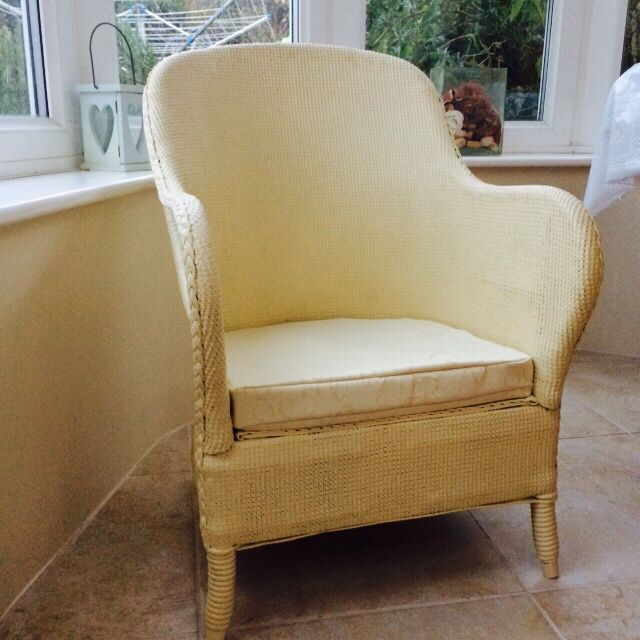Lloyd Loom Style Chair. Painted in Annie Sloan 'cream' Chalk Paint and sealed. Handmade new box cushion seat.