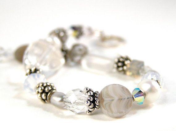 Elizabeth Bracelet - Beaded - Swarovski Crystal, Czech Fire Polished Glass, Freshwater Pearls, & Sterling Silver - Wedding, Bridal - Snow White Colorway by knitbeadlove