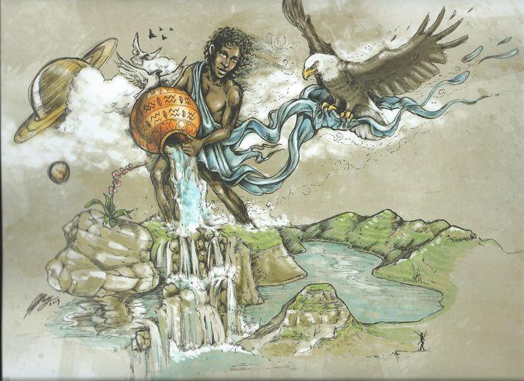 AQUARIUS - African Zodiac from 2014 Art Publishers Calendar Illustrations by Blue Ocean Design