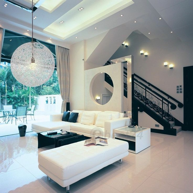 Random Rattan Ceiling Light Pendant Lamp Suspension Lighting Modern Round Ball Living Room