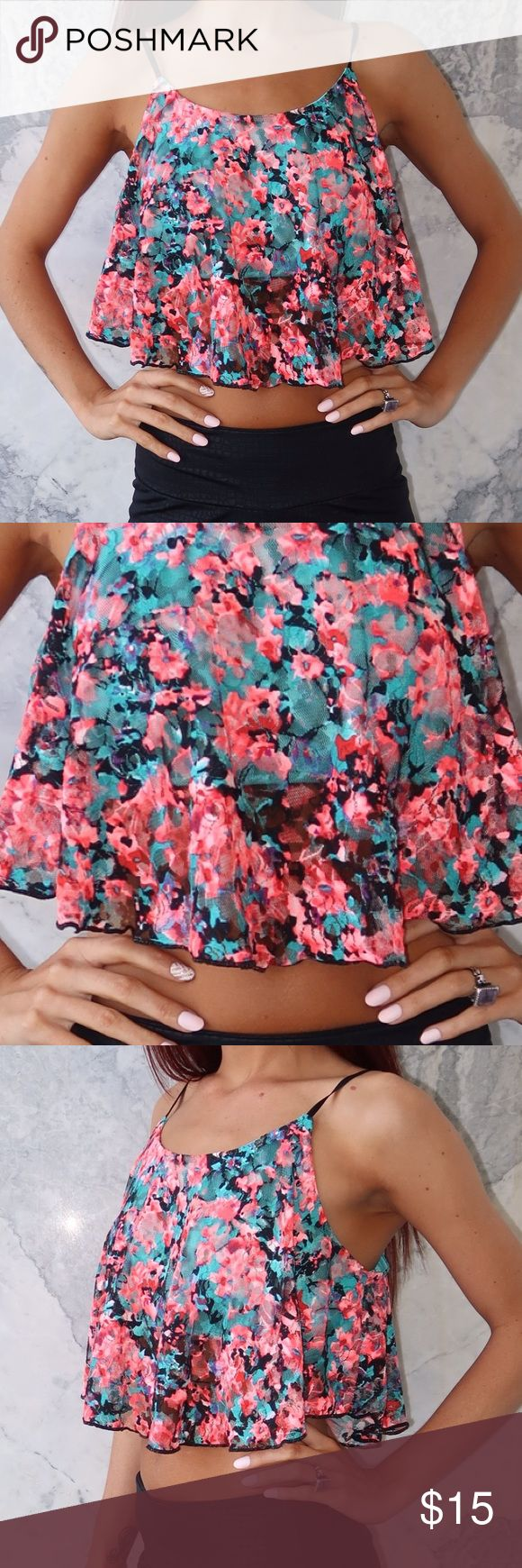 Neon Floral Rose Lace Crop Top PRE LOVED multi coloured floral rose lace crop top with built in bandeau underneath the lace and adjustable spaghetti straps. In great condition like new Tops Crop Tops