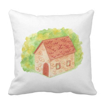 #Watercolor Cozy Cottage Throw Pillow - #giftideas for #kids #babies #children #gifts #giftidea