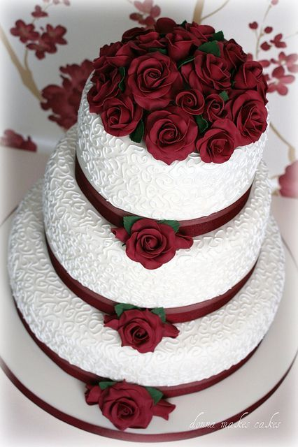 Ivory and Burgundy Roses Wedding Cake by donna_makes_cakes, via Flickr #goldweddingcakes