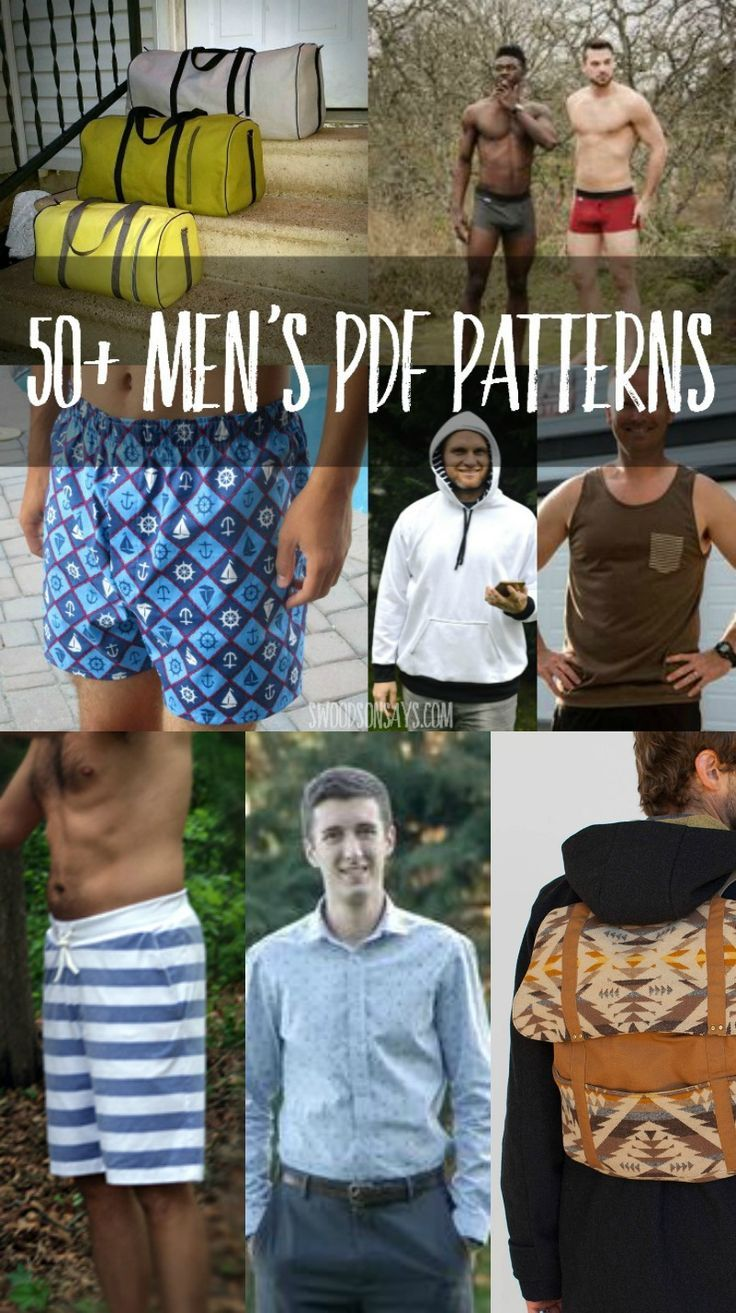 Looking for PDF sewing patterns for men? I have a big list of things to sew for men! From bags to pants and everything in between.