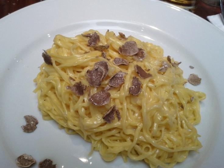 Tagliarini with Alba truffle at Oliveto, London.
