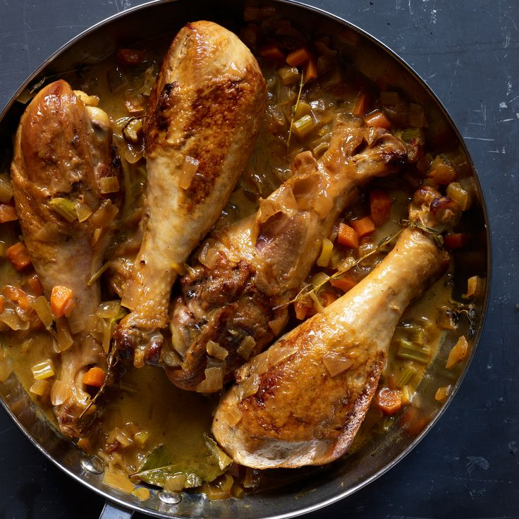 Apple Cider-Braised Turkey Drumsticks -Braising drumsticks is as simple as roasting a whole bird & the gravy is equally delicious, but there's no worry of over-cooking, plus you can prepare the dish ahead & serve it whenever you are ready.