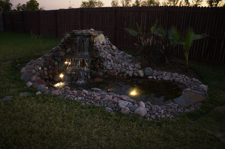 A Simply Beautiful Waterfall Pond Lit Up By Pond Lights In The Evening Totalpond Ponds