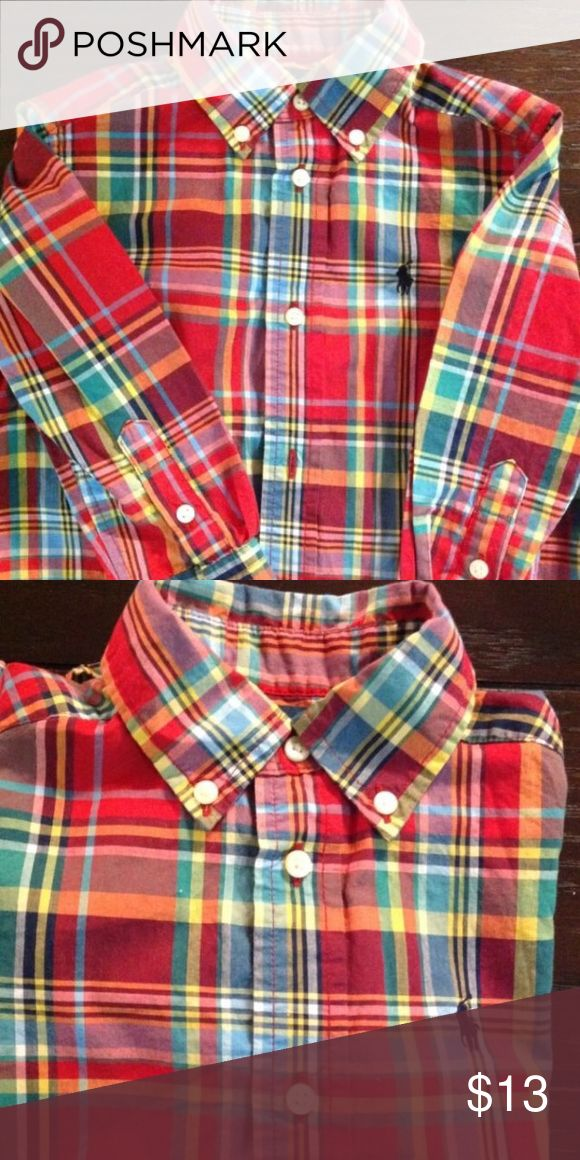 Little boys Ralph Lauren red plaid shirt -2T Red plaid Ralph Lauren long sleeve button down shirt in 2T. Excellent condition and can be worn as a dress or casual shirt. Ralph Lauren Shirts & Tops Button Down Shirts