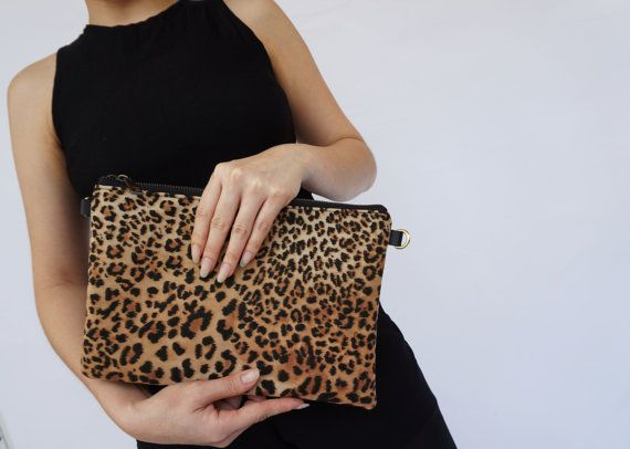Medium Leopard embrayage Messenger Messenger par JaniceDesign