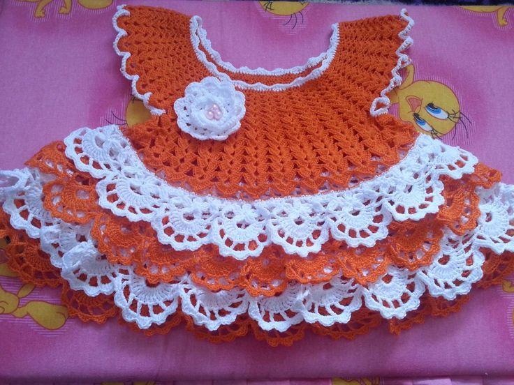 """Вязание. Вяжем платье на малышку """"ЛУЖОК"""". Часть 3.( knit dress baby)"""