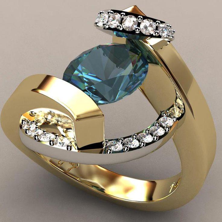 Swirl Wrap Suspension Set Ladies Ring- Greg Neeley Designs. Aquamarine center stone, 23 diamonds in the swirl