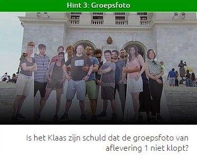 Is het Klaas zijn schuld dat de groepsfoto van aflevering 1 niet klopt?
